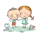 A Little Boy Crying and a Girl Comforting Him - GraphicRiver Item for Sale