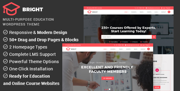 Bright - Education & Online Course WordPress Theme