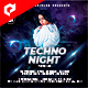 Techno Night 4x4 Inch Flyer Template - GraphicRiver Item for Sale
