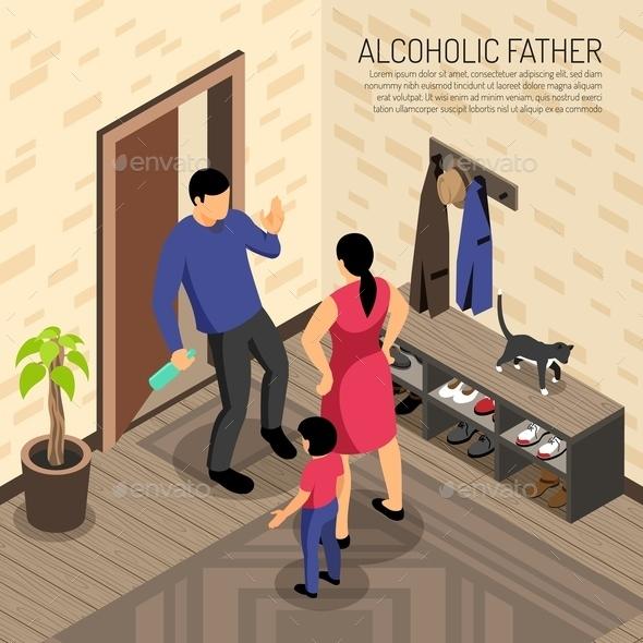 Alcoholic Father Isometric Illustration