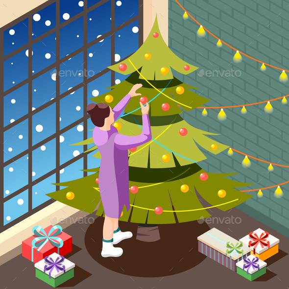 Christmas Eve Isometric Background
