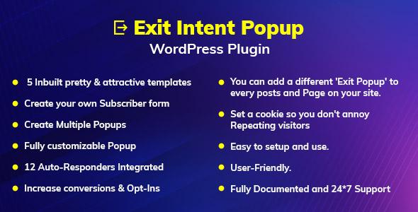 Exit Intent Popup WordPress Plugin