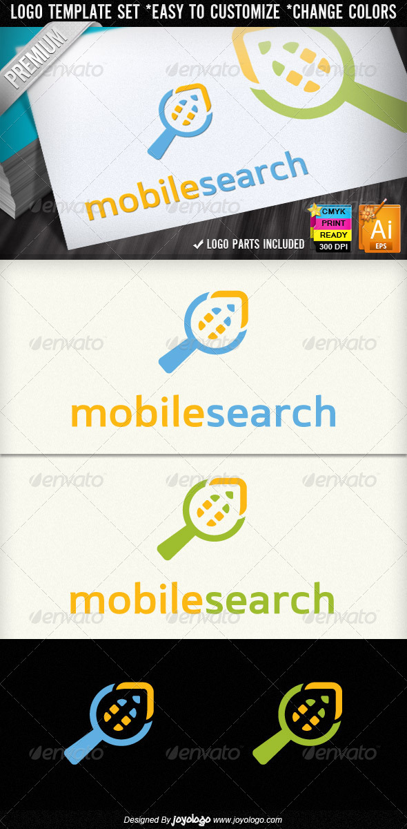Cellular Phone Search Mobile Finder Logo Template