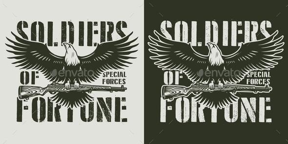 Vintage Military Monochrome Print