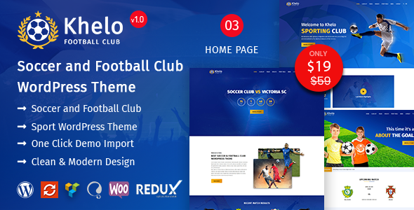 Khelo - Soccer & Football Club WordPress Theme