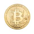 Golden Bitcoin over white - PhotoDune Item for Sale