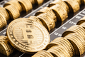 Gold bitcoin over Euro coins - PhotoDune Item for Sale