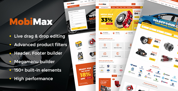 Mobimax - Auto Parts WordPress Theme + WooCommerce Shop