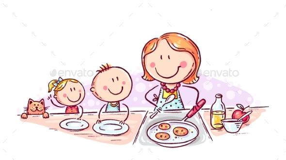 Kids Are Waiting for Pancakes Mother is Cooking