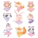 Animals in Ballerina Dresses. Vector - GraphicRiver Item for Sale