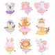 Cute Cartoon Animals in Ballerina Dresses. Vector - GraphicRiver Item for Sale