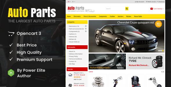 Auto Parts - Tools Opencart Theme