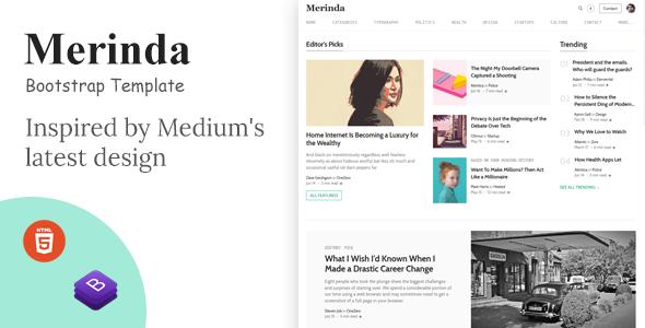 Merinda – HTML Template inspired by Medium