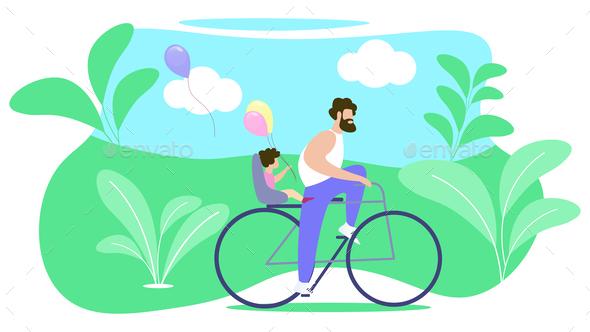 Father Rolls Child on Bike Vector Illustration.