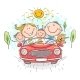 Happy Family Travelling By Car Vacation Trip - GraphicRiver Item for Sale