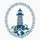 Lighthouse in Circle of Chains Engraving Vector Emblem - GraphicRiver Item for Sale