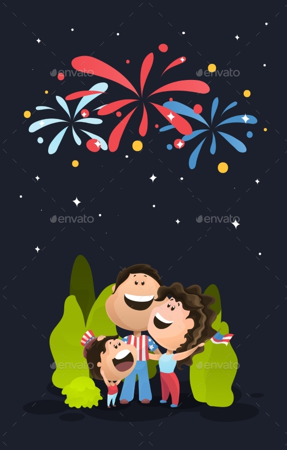 Happy Family Watching the Fireworks