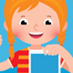 Cheerful Girl Holding a Computer Tablet in Her Hand - GraphicRiver Item for Sale