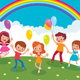 Group of Cheerful Children with Balloons Playing on the Lawn - GraphicRiver Item for Sale