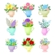 Set of Images of Various Bouquets. Vector - GraphicRiver Item for Sale