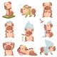 Set of Images of Cartoon Dogs of Pug Breed - GraphicRiver Item for Sale