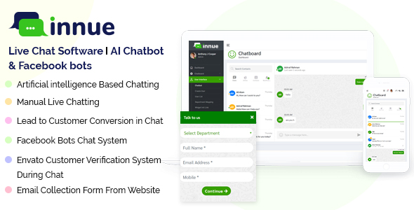 Innue - Live Chat Software | AI Chatbot with Facebook and Dialogflow bot