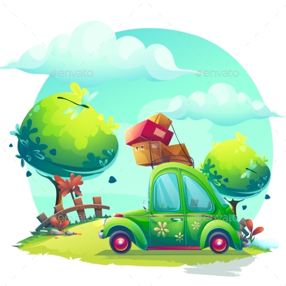Vector Background Style with Cartoon Green Car