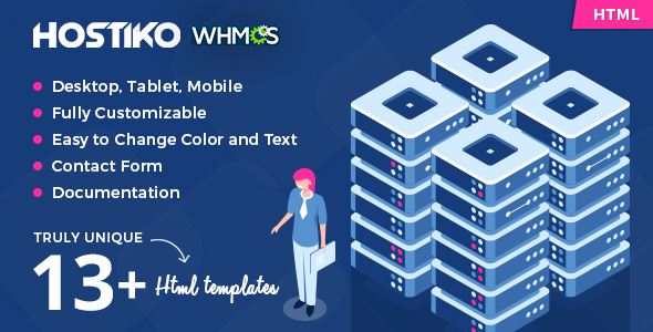 Hostiko - Hosting HTML & WHMCS Template With Isometric