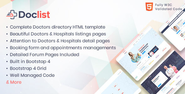 Doclist - Medical and Doctor Directory HTML Template