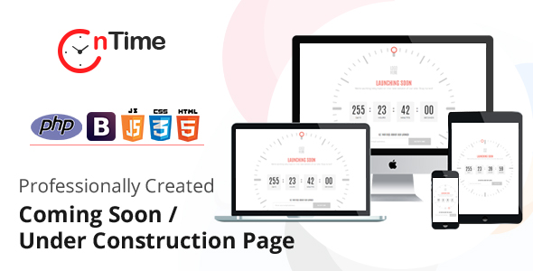 OnTime - Coming Soon / Under Construction PHP Script with Admin panel