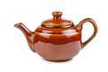 Glazed brown ceramic teapot isolated on white background - PhotoDune Item for Sale