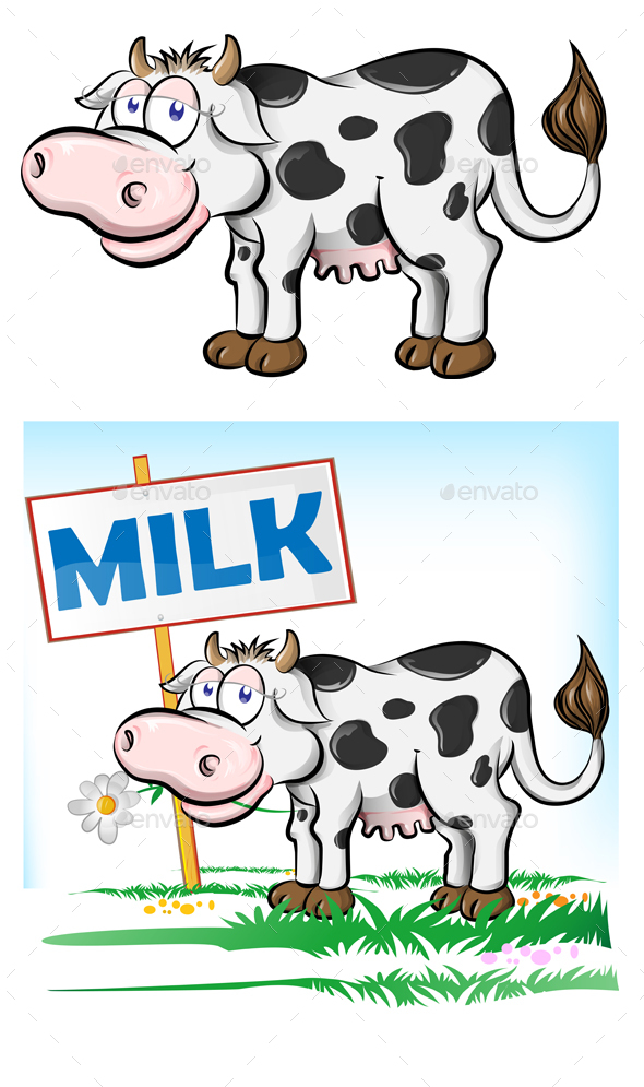 2 Cartoon Cow Character Mascots