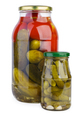 Glass jars with pickled tomatoes and cucumbers - PhotoDune Item for Sale