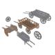Set of 4 Medieval Village Wooden Carts - 3DOcean Item for Sale