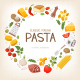 Group of Vegetables and Pasta Ingredients Arranged in Circle Border - GraphicRiver Item for Sale