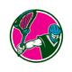 Lacrosse Player Crosse Stick Circle Retro - GraphicRiver Item for Sale