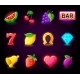 Colorful Slots Icon Set for Casino Slot Machine - GraphicRiver Item for Sale