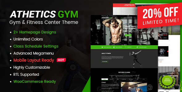 Athetics – Gym Fitness WordPress Theme (Mobile Layout Ready) Free Download
