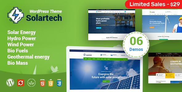 Solar Tech – Alternative & Renewable Energy WordPress Theme Free Download