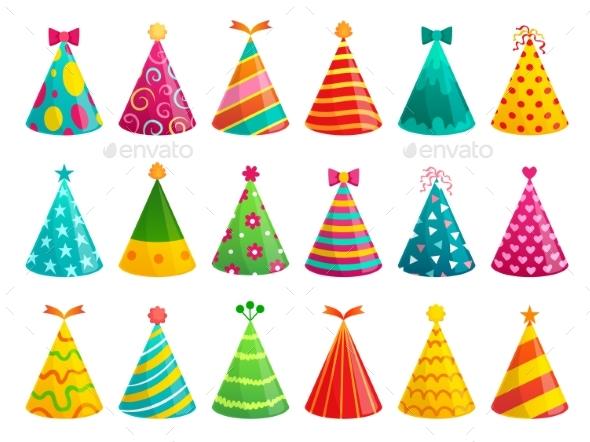 Cartoon Birthday Party Caps.