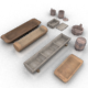 Set of 9 Medieval Village Wooden Outdoor Stuff - 3DOcean Item for Sale