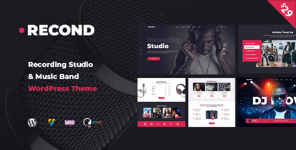 Recond – Recording Studio & Music Band WordPress Theme Free Download