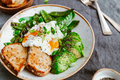 Fried snow peas, avocado, poached eggs are sprinkled chia seeds - PhotoDune Item for Sale