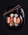 sushi on black base in shiny black porcelain - PhotoDune Item for Sale