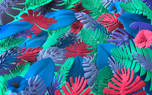 Colorful Background Of Abstract Jungle Plants And Leaves