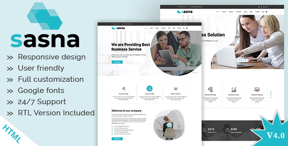 Sasna - Multipurpose Business HTML Template + RTL