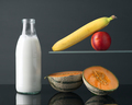 bottle of milk and fruits on gray background - PhotoDune Item for Sale
