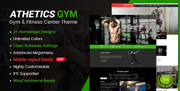 Athetics - Gym Fitness WordPress Theme (Mobile Layout Ready)