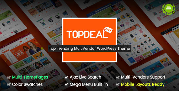 TopDeal - Multi Vendor Marketplace WordPress Theme (Mobile Layouts Ready)