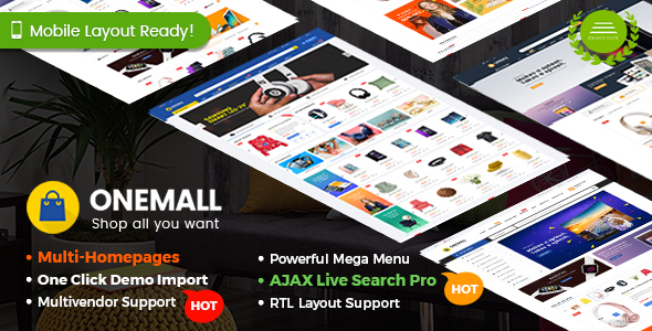 OneMall - eCommerce MarketPlace WooCommerce WordPress Theme (Mobile Layouts Included)